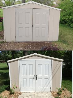 shed makeover with paint and landscaping Shed Makeover, Outdoor Furniture, Outdoor Decor, Outdoor Storage, Landscaping, Garage Doors, Painting, Home Decor, Decoration Home