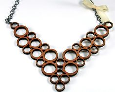 Modern Geometric Bib Style Statement Bubble Necklace Cherry Wood & Ribbon Abstract Unique Laser Cut Wooden Jewelry With Gunmetal Chain on Etsy, $65.00