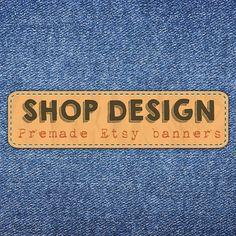 Denim banner Custom shop set Rustic banner Etsy shop
