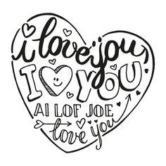 Grappige handgetekende doodle valentijnskaart in zwart wit met een groot hart en diverse love teksten, verkrijgbaar bij #kaartje2go voor €1,99