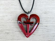 Wooden Heart and Cross Necklace  Bloodwood, Ebony & Purpleheart by TheLotusShop, $19.95