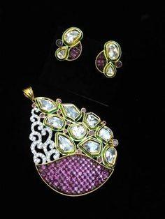 magenta diamond kundan work pendant set - RICH LOOK - 651989 Pendant Set, Indian Jewelry, Magenta, Brooch, Pairs, Diamond, Earrings, Beautiful, Design