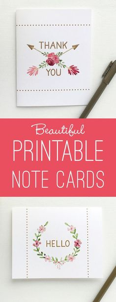 Beautiful printable note cards. Perfect for thank you notes or just saying hello! Would be nice to send to clients or friends. Pretty pink rose and arrow designs.
