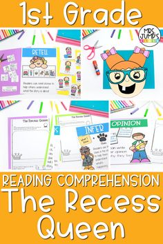 These 1st grade reading comprehension activities are a great way to get your students practicing early reading comprehension skills like making predictions, retelling stories and more. With this specific set of activities, I focus on one of my favorite first grade read alouds for back to school-The Recess Queen.