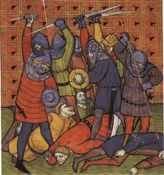 14th Century Knights | Soldiers killing peasants. Late 14th century.