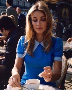 """Class Golden Era on Instagram: """"Sharon Tate, photographed at a parisian cafe by Jean-Claude Deutsch in October of 1968."""" Living Dead Clothing, Lolita Goth, Parisian Cafe, Sharon Tate, Nasty Gal, Modcloth, Old Hollywood, Southern Prep, Deutsch"""