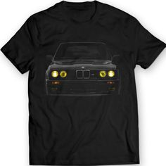 BMW E30 Yellow Headlights T-Shirt Mpower Bimmer 100% Cotton Holiday Gift Birthday