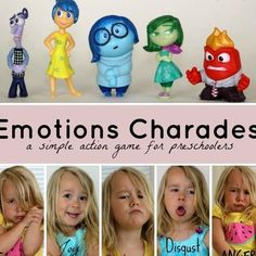 Emotions Charades! A simple action game for teaching emotions to preschoolers! Drama Activities, Social Emotional Activities, Emotions Activities, Art Therapy Activities, Play Therapy, Therapy Ideas, Learning Games For Preschoolers, Art Activities For Toddlers, Preschool Activities