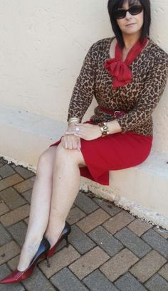 Red skirt and leopard print top