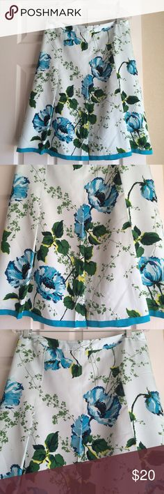 ee52b7d945 Banana Republic Silk Skirt of July Sale! Silk skirt from Banana Republic.  Floral print is a vibrant blue/green. Size Measures (front): waist length  Banana ...