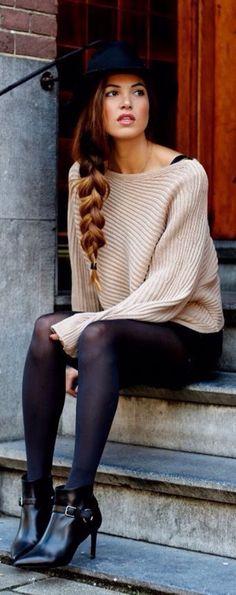 Boots & Mini Skirt #womenswear #autumn #sweater #beige #fall #style