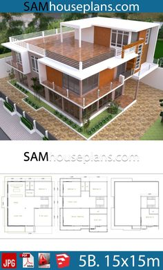 House Plans with 5 Bedrooms - Sam House Plans 3 Storey House Design, House Roof Design, House Outside Design, Bungalow House Design, Modern House Design, Modern House Floor Plans, Modern Bungalow House, Beach House Plans, Home Design Floor Plans