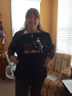 """Veronica M. and her """"Heels Down Leg On"""" dressage tee."""