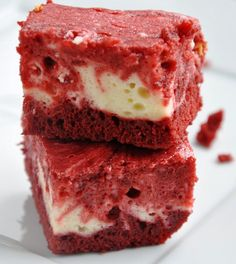 All my lovely fattening treats in one! Red Velvet Cheesecake Brownies.