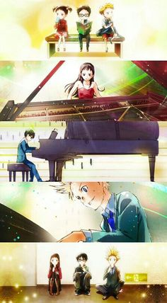 Emi, Takeshi, Kousei, piano, playing, young, childhood, different ages, time lapse; Your Lie in April