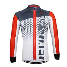 ARSUXEO Outdoor Sports Cycling Bike Bicycle Long Sleeves Quick Dry Fitness  Jersey White Size Medium   e4c2a3c77