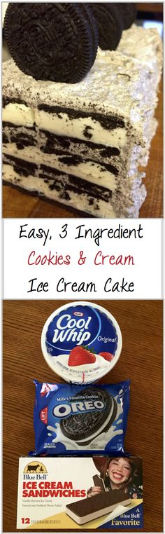 EASIEST Homemade Ice Cream Cake - Only 3 Ingredients Oh My! Only 3 Ingredients! Easy No Bake Cookies and Cream Ice Cream Cake - the perfect party dessert!Oh My! Only 3 Ingredients! Easy No Bake Cookies and Cream Ice Cream Cake - the perfect party dessert! Beaux Desserts, Köstliche Desserts, Frozen Desserts, Dessert Recipes, Frozen Treats, Healthy Desserts, Cake Recipes, Cheesecake Desserts, Raspberry Cheesecake