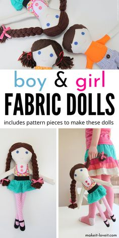 Boy and Girl Fabric Dolls With Pattern Pieces to learn how to make these fabric dolls for yourself. I share patterns for boys and girls! A fun doll craft for little kids. Arts And Crafts Projects, Diy For Girls, Diy Crafts For Kids, Sewing Projects, Sewing Tutorials, Kids Girls, Easy Crafts, Sewing Patterns, Diy Projects
