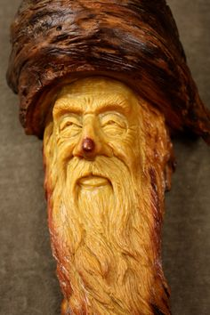 Wood carving of wood spirit Elf Wizard tree by TreeWizWoodCarvings