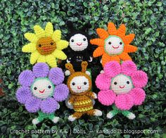 Ravelry: Bee, sunflowers and ladybug amigurumi crochet pattern pattern by Sayjai Thawornsupacharoen