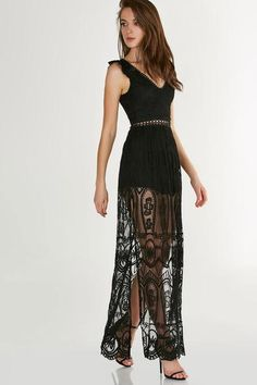 Stunning V-neck maxi romper with ruffled cap sleeves. Intricate blend of mesh, lace and crochet with embroidered floral patterns throughout.