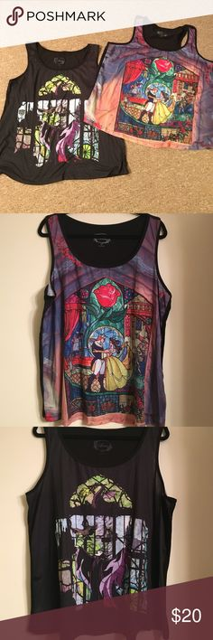 Bundle  NWOT Plus Size Disney Tank Tops NWOT Disney tanks from Torrid! Beauty and the Beast stained glass image on the one, not pictured is the plain, black back. The other tank is Maleficent from Sleeping Beauty. torrid Tops Tank Tops