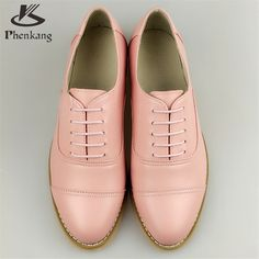 Genuine leather big woman US size 11 designer vintage flat shoes round toe handmade pink 2017 oxford shoes for women with fur