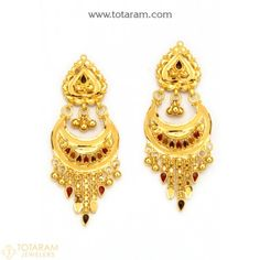 Indian Gold Jewellery Design, Gold Temple Jewellery, Antique Jewellery Designs, Gold Bangles Design, Gold Earrings Designs, India Jewelry, Jewelry Design, Gold Jhumka Earrings, Gold Drop Earrings