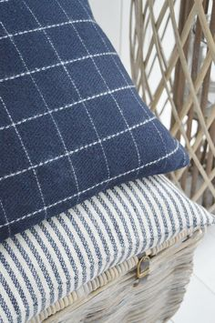 New England Style Country, Coastal and White Furniture and accessories for the home. Navy and Ivory check and stripe cushions Navy And White Living Room, Ivory Living Room, Home Living Room, Camper Cushions, Garden Cushions, Checked Cushions, Striped Cushions, Dream Beach Houses, New England Style