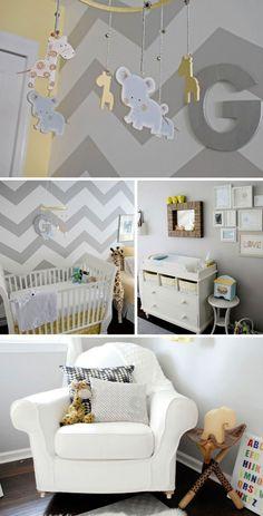 chambre enfant jaune gris