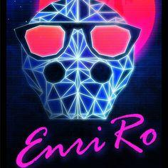 Retro-Futurista #Enriro #design #amazing #80s #style #retro #laser #night #future #my #skull #logo #sun #moon #pink #orange #blue #white #black #pisces #stars #Wacom #Photoshop #nofilter #cool #sunglasses