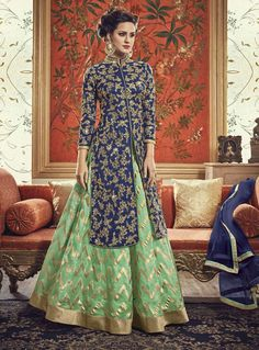Shop Blue and Green Banarasi Silk Embroidered Lehenga online (SKU Code : at Ishimaya. Latest party wear suits, Straight cut suits online , designer straight suits and more for parties & family wedding functions. Indian Gowns, Indian Fashion Dresses, Indian Designer Outfits, Indian Attire, Pakistani Dresses, Indian Outfits, Designer Dresses, Punjabi Dress, Punjabi Suits
