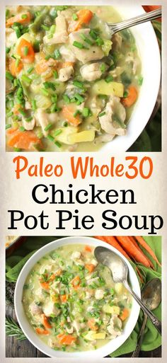 Paleo Whole30 Pot Pie Soup -  If you can't eat potatoes, I've also used puréed zucchini in broth as a thickener. Peel and cook the zucchini beforehand.