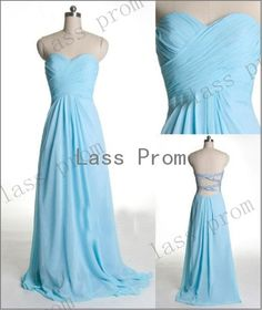 Custom Made Chiffon Long Blue Prom Dresses Evening by lassprom