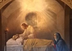Beautiful image of Jesus anointing St. Joseph. Blessed Holy Family, pray for us.