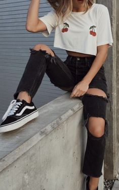 cherries crop top + black high waisted distressed levis jeans + vans old skool | teen street style outfit ideas | nyc outfit ideas