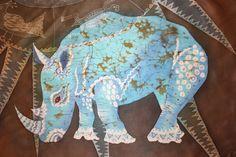 Hand painted silk scarf Turquoise rhinoceros. Hand by Hotbatik