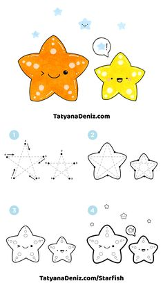 How to draw kawaii starfish step-by-step tutorial by Tatyana Deniz Kawaii Doodles, Cute Kawaii Drawings, Cute Doodles, Sea Creatures Drawing, Creature Drawings, Easy Drawings For Kids, Drawing For Kids, Drawing Step, Starfish Drawing