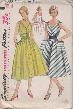 FACTORY FOLDED 1950's Misses' Dress Simplicity 4309 Size by HelaQ