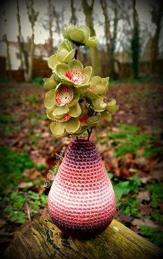 Sculptural Crochet Vase designed and handmade by © Elvira Jane