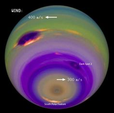 In this image, the colors and contrasts were modified to emphasize the planet's atmospheric features. The winds in Neptune's atmosphere can reach the speed of sound or more. Neptune's Great Dark Spot stands out as the most prominent feature on the left. Several features, including the fainter Dark Spot 2 and the South Polar Feature, are locked to the planet's rotation.