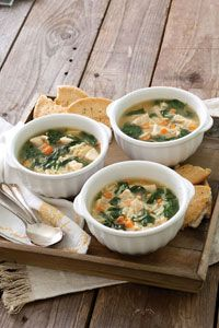 Chicken and Orzo Soup with Spinach and Lemon