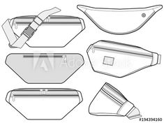 HYDNSTUDIO photos images assets - Sketch Templates - Ideas of Sketch Templates - Waist BAG vector illustration flat sketches template