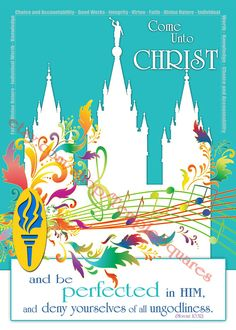 YW Printable LDS Colorful Temple Art Young Women 2014 Theme Instant Download…