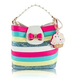 c43426cca Betsey Johnson Candy Striper Cupcake Bucket Bag, Cream Multi Betsy Johnson  Purses, Betsey Johnson