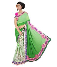 Saree Colour : Green Blouse Colour : Pink Collection : KSS102 Saree Fabric : Pallu Weightless + Brasso Blouse Fabric : Dhupian Saree Length : 5 Meter Blouse Length : 0.90 Cm Ptticoat : Not Available Stitching: Un_Stitched Work : Embroidered Style : New Arrival Saree