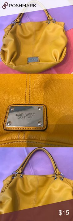 EUC NINE WEST HOBO BAG I love this mustard yellow leather hobo style purse by Nine West . Perfect purse at the perfect price over the shoulder nice large opening so you can get your hand in! Sometimes all those fancy bags it's hard to actually get your hand in to get your things out not so with this purse and it's priced right Nine West Bags Hobos