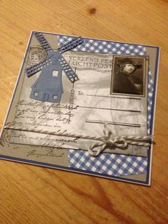 Hippepippe Marianne Design, Card Making Inspiration, Windmill, Diy Cards, Holland, Birthday Cards, Scrap, Personalized Items, Homemade Cards