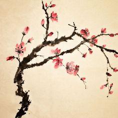 estampe japonaise arbre fleurs