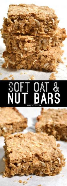 These Soft Oat and Nut Bars are a great grab and go breakfast. Not too sweet and full of whole wheat flour, nutritious oats, and protein packed nuts. BudgetBytes.com